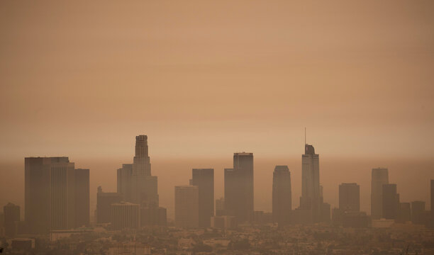 The downtown skyline is pictured amidst the smoke from the Bobcat fire in Los Angeles