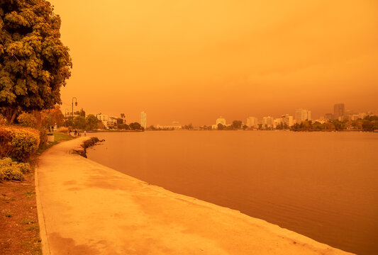 Oakland, California on September 09, 2020, at 12pm. Alameda County is among some of the biggest fires in the state, the CZU fire in Santa Cruz and the fire in the Lake Napa.