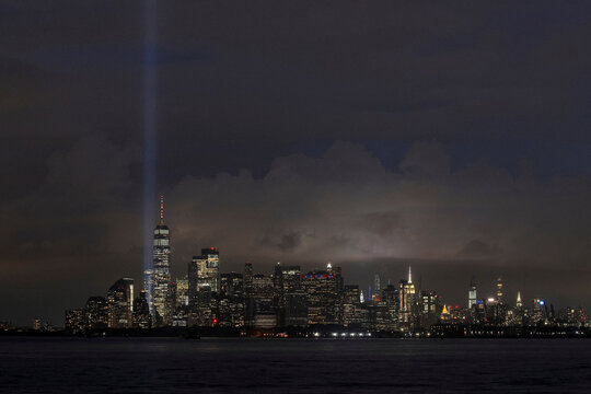 The Tribute in Light installation is tested over lower Manhattan the night before the 19th anniversary of the 9/11 attacks in New York