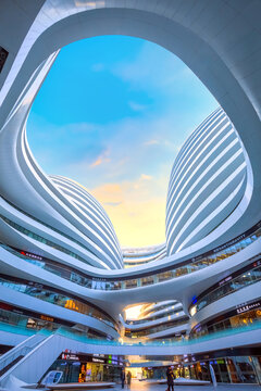 Beijing, China - Jan 12 2020: Galaxy Soho Building is an urban complex opened in 2014, designed by  architect Zaha Hadid. The complex offers shops, offices and entertainment facilities.