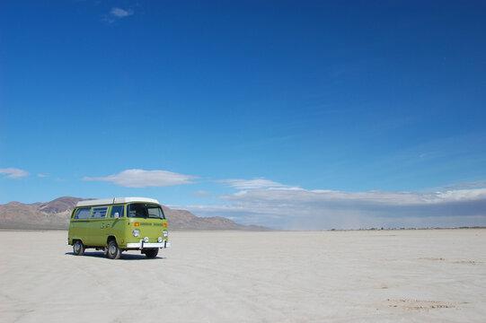 Camper van on a California dry lakebed