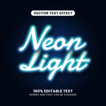 Editable Neon Light Text Effect. Simple, modern, and futuristic. Easy to edit. Vector illustration.