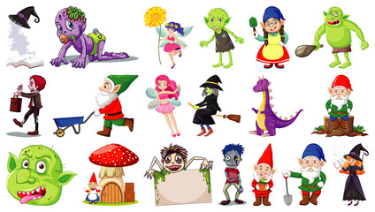 Set of fantasy cartoon characters and fantasy theme isolated on white background
