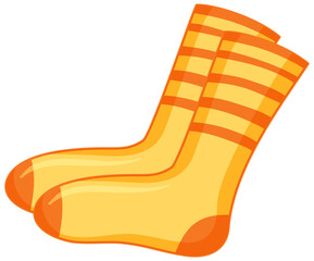 Yellow socks cartoon style isolated on white background