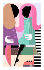 Two Women Of Fashion. Couple of fashionable women talking with each other. Modern art graphic illustration.