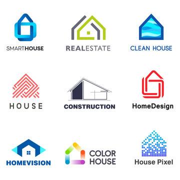 Real Estate vector logo design template. Creative abstract house icon logo set