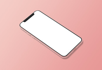 Modern smartphone mockup on gradient background 3D rendering