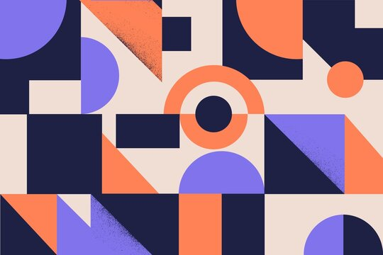 Colorful simple geometrical shapes and figures vector flat illustration. Textured minimalistic background with triangle, circle and square. Stylish polygonal pattern template