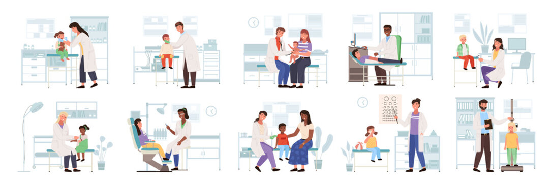 Family healthcare medical care icon with pediatric doctor vector. Parents with kid scenes set of child pediatric medical examination and treatment, doctor with patient, health check exam