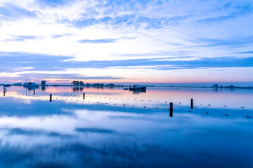 Sunrise over lake 't Joppe in the Kagerplassen in the South-Holland village of Warmond in the Netherlands.