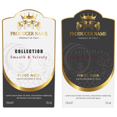 Retro Wine Label Design for Red and White Wine. Set of Vintage label