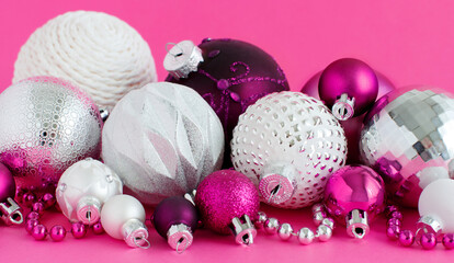 Christmas baubles on a purple background