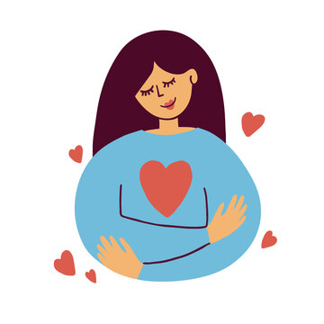 Cute girl hugs herself. Self care, love yourself icon, body positive illustration. Happy woman and red heart shape inside. Slow life, wellness, me time, acceptance concept. Valentines vector postcard