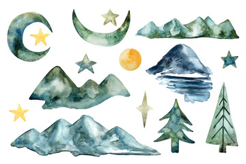 Hand drawn watercolor mountains, trees, fir trees, stars, moon, sun on white isolated background for use in travel design, textile, wrapping paper, high quality childrens illustration