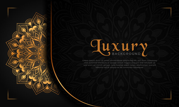 Luxury mandala background with floral ornament pattern. Hand drawn gold mandala design. Vector mandala template for decoration invitation, cards, wedding, logos, cover, brochure, flyer, banner.
