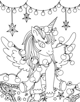 Merry Christmas unicorn coloring. Hand drawn vector illustration. Magical animal. Coloring book pages for adults and kids.  unicorn entangled in a garland, decorations for the Christmas tree, stars