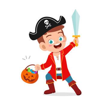 happy cute little kid boy and girl celebrate halloween wears pirate costume