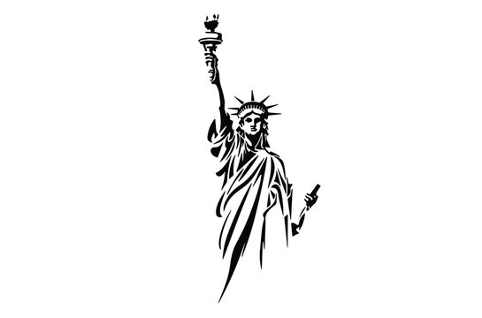 New York Statue of Liberty Vector silhouette.vector illustration EPS 8