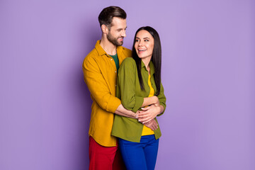 Portrait of his he her she nice attractive affectionate cheerful cheery glad couple embracing...