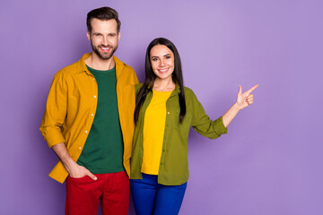 Portrait of his he her she nice attractive cheerful cheery confident glad couple embracing showing...