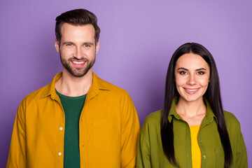 Portrait photo pretty lady handsome guy students couple stand together toothy smiling good mood...