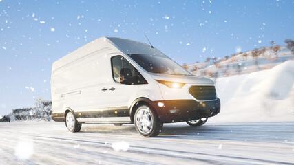 Transporter mit Lieferung fährt im Winter durch Schnee