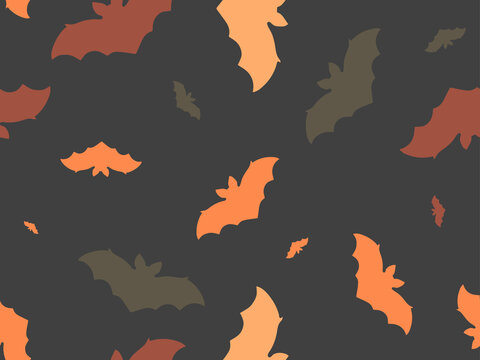 Hallowen seamless pattern with flying bats. Festive decor with scary bats. Background for wrapping paper, print, fabric and printing. Vector illustration