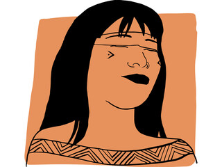 Fototapeta Hand-draw outline portrait of a tribal woman with orange sample color obraz