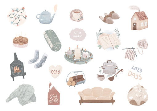 Hygge  essentials, Cozy winter home elements, Nordic home, scandinavian style living room, hygge lifestyle,stay home, stay warm