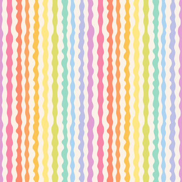 Abstract seamless pattern with rainbow wavy lines, stripes, organic shapes. Stylish vector texture with smooth fluid forms. Simple multicolor background. Repeat tileable design for decor, print, wrap