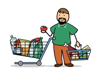 Voller Einkaufswagen beim Lebensmittel Einkauf im Supermarkt