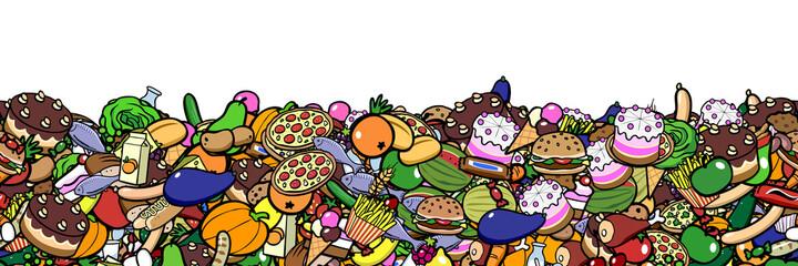 Bune Cartoon Lebensmittel als nahtloser Rand Rahmen