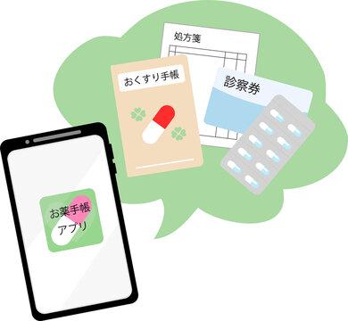 お薬手帳アプリ 管理 イメージ