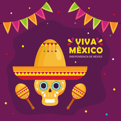 viva mexico, happy independence day, 16 of september and skull with hat, maracas and garlands hanging vector illustration design