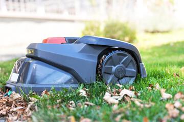 bad laasphe, north rhine westphalia/germany - 10 09 2020: a husqvarna auto mower in the grass near bad laasphe germany