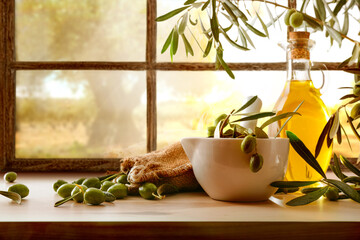 Natural olive oil from organic harvest in rural house