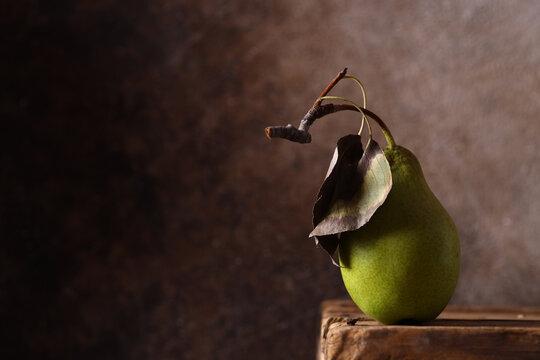still life ripe organic fruit pear