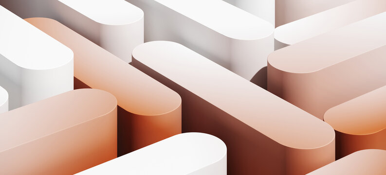 Minimal abstract mockup background for product presentation. White and red blending gradient podium. 3d render illustration.