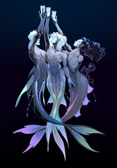 Three of cups, tarot card. Group of mermaids. Vector fantasy illustration