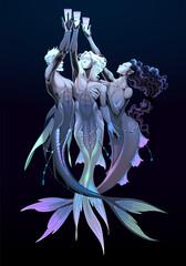 Three of cups, tarot card. Group of mermaids. Vector fantasy illustration