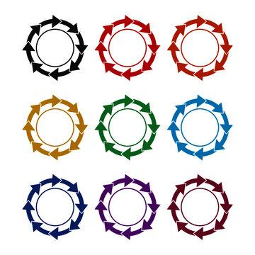 Rotating arrows circle icon, color set