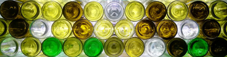 background of  empty wine bottles