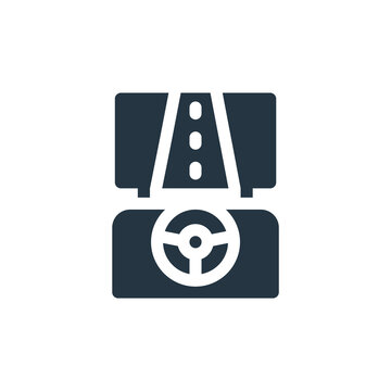 simulator icon. Glyph simulator icon for website design and mobile, app development, print. simulator icon from filled driving school collection isolated on white background..