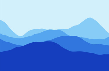 Photo sur Plexiglas Bleu fonce Mountains in the haze at sunset - Vector illustration