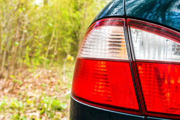 Taillights of modern car. Close up.