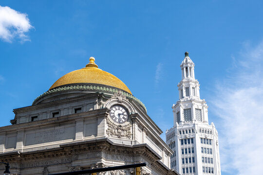 Historic architecture at Main Street in Downtown Buffalo, NY - Old Bank Building and The Electric Tower