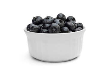 Bowl with blueberries on white.