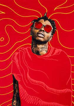 Collage portrait of black man