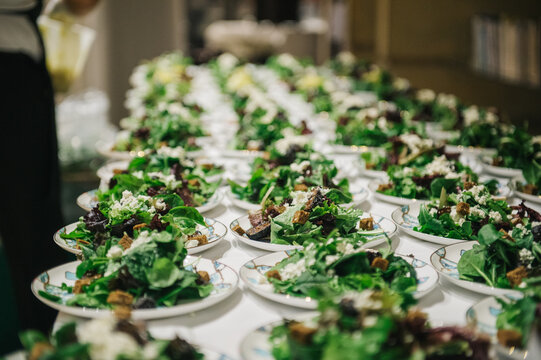 Salads in preparation for an event