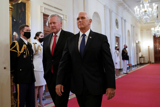 Pence and Meadows arrive for a Medal of Honor ceremony at the White House in Washington